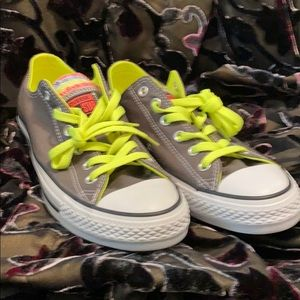 Converse all star grey and white 8 sneakers neon